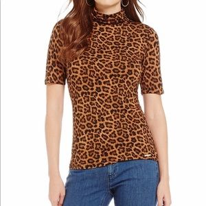 Michael Kors Leopard Print Jersey Turtleneck Top